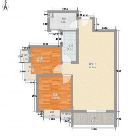 名品建筑2室1厅1卫1厨86.00㎡户型图