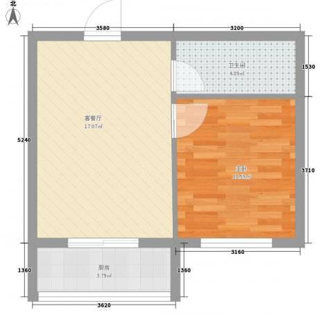 丰和日丽1室1厅1卫1厨49.00㎡户型图