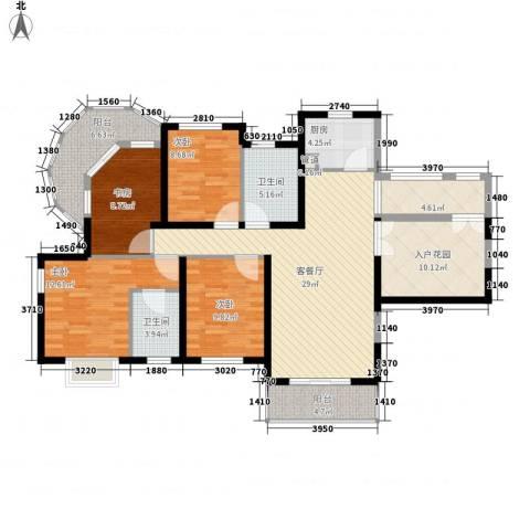 南博湾花园4室1厅2卫1厨156.00㎡户型图