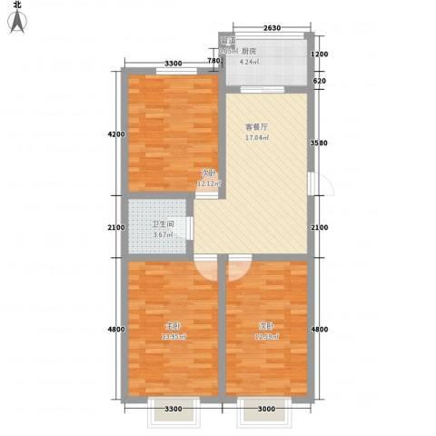 万熹绿景3室1厅1卫1厨89.00㎡户型图