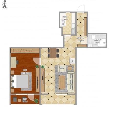 西翠路12号院1室1厅1卫1厨71.00㎡户型图
