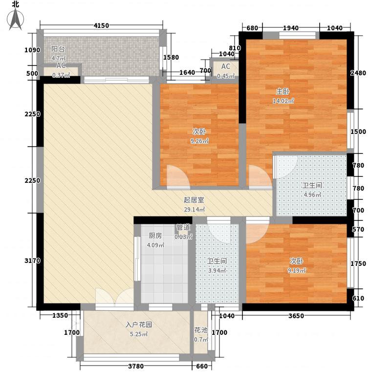 华宇・蓉国府114.16㎡2号楼1单元(4-33)层偶数层户型3室2厅2卫1厨