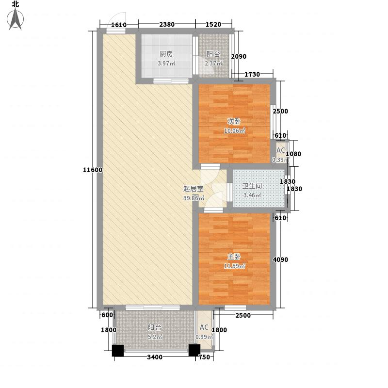 亿豪名园户型图1栋户型4 2室2厅1卫1厨