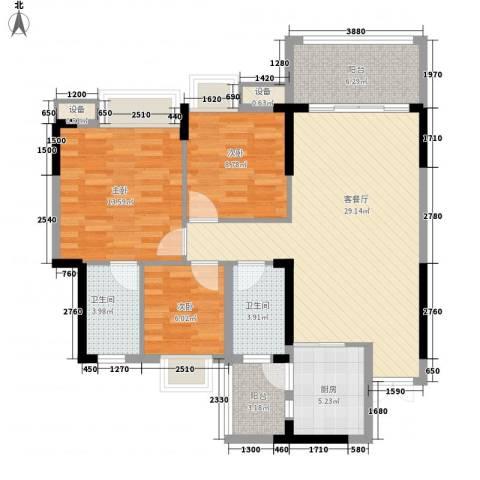 康怡丽苑3室1厅2卫1厨101.00㎡户型图