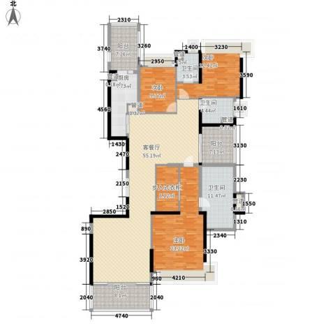 恒大绿洲3室1厅3卫1厨206.00㎡户型图