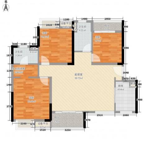 九江中航城3室0厅2卫1厨122.00㎡户型图