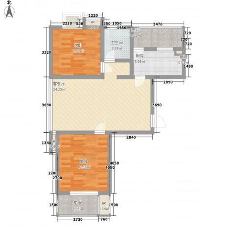 天诚金白领公寓2室1厅1卫1厨95.00㎡户型图