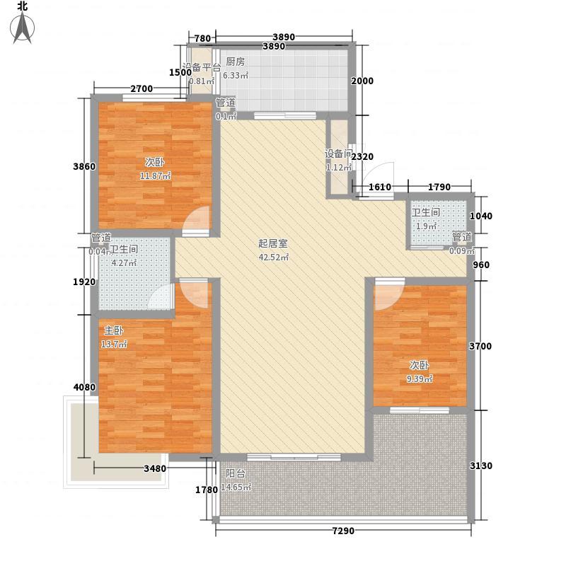 枫景华庭15.82㎡E户型3室2厅2卫1厨