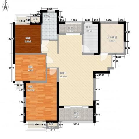 拓基沃野花园3室1厅1卫1厨118.00㎡户型图