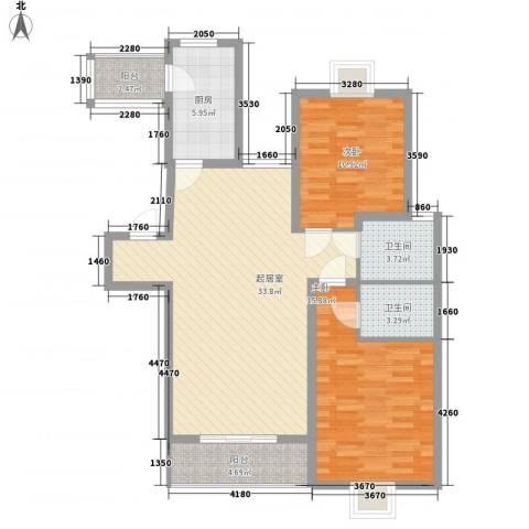 天诚金白领公寓2室0厅2卫1厨115.00㎡户型图