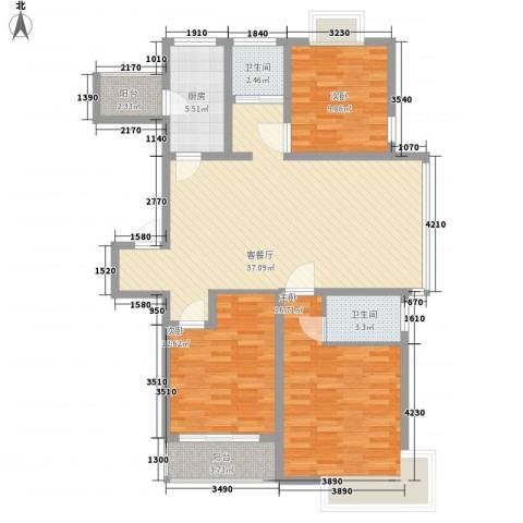 天诚金白领公寓3室1厅2卫1厨132.00㎡户型图