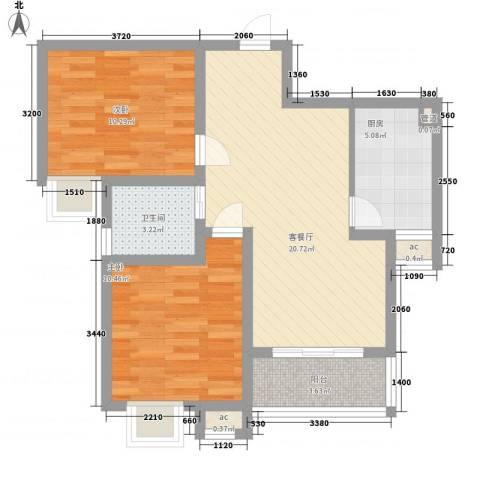 天诚金白领公寓2室1厅1卫1厨80.00㎡户型图