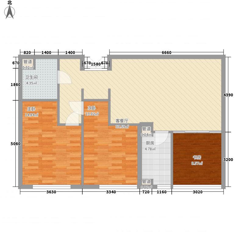 绿城皇冠花园112.00㎡二期D户型3室2厅1卫1厨