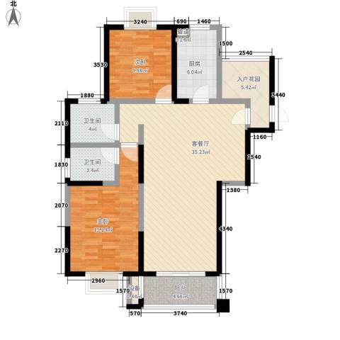 君御豪庭2室1厅2卫1厨123.00㎡户型图