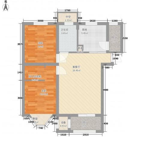 宽城2室1厅1卫1厨77.00㎡户型图