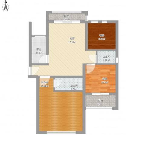 银溪春墅22室1厅2卫1厨85.00㎡户型图