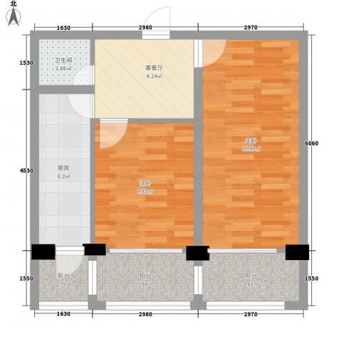 世纪雅苑2室1厅1卫1厨72.00㎡户型图