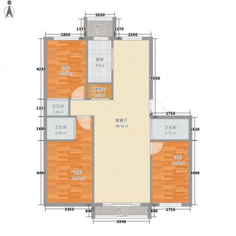 丰和日丽3室1厅3卫1厨127.00㎡户型图