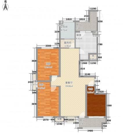 冠华园3室1厅1卫1厨144.00㎡户型图