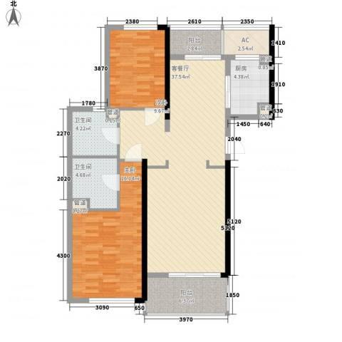 绿城锦绣兰庭2室1厅2卫1厨128.00㎡户型图