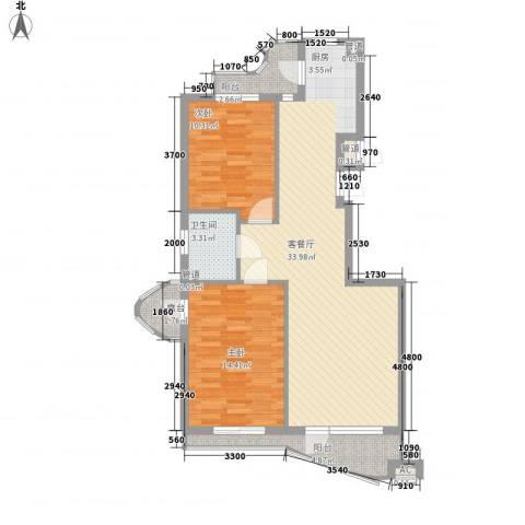 热岛黄金海岸2室1厅1卫0厨89.00㎡户型图