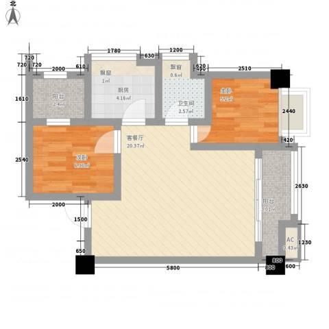 云鼎公馆2室1厅1卫1厨67.00㎡户型图