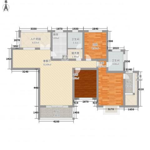 南博湾花园3室1厅2卫1厨136.00㎡户型图