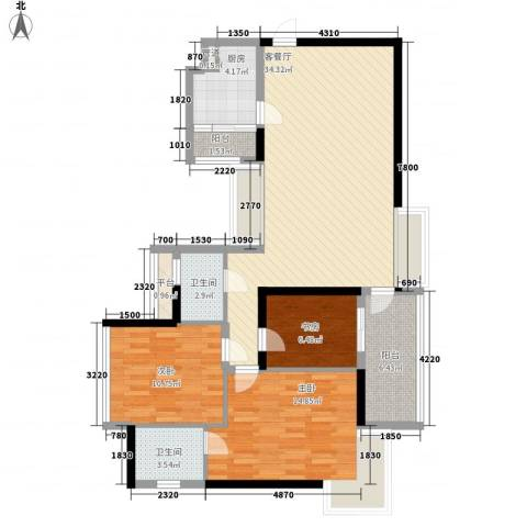 阳光城市家园3室1厅2卫1厨124.00㎡户型图