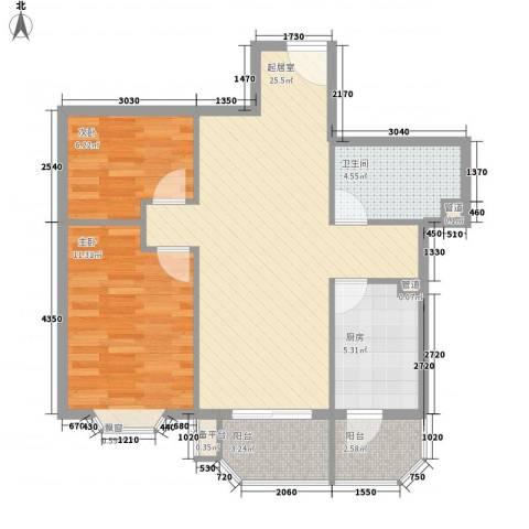 瑞丽江畔2室0厅1卫1厨76.00㎡户型图