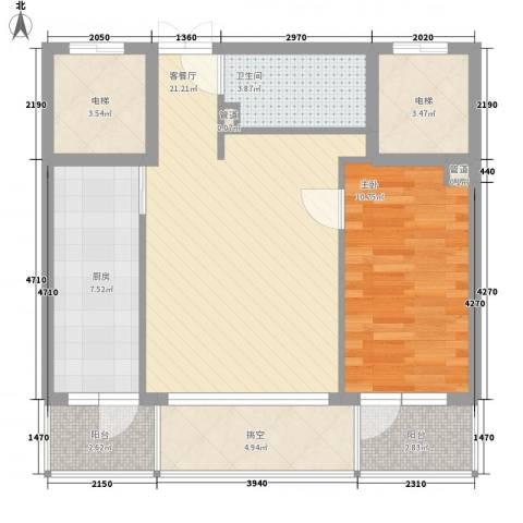 亿锋现代城1室1厅1卫1厨63.00㎡户型图