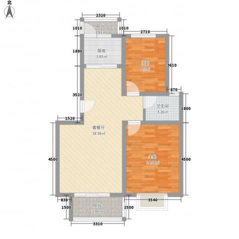 正康花园2室1厅1卫1厨90.00㎡户型图