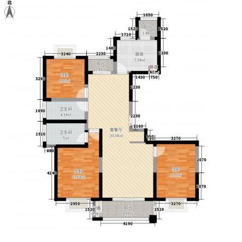 君御豪庭3室1厅2卫1厨139.00㎡户型图