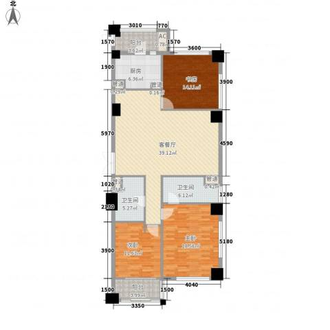绿城皇冠花园3室1厅2卫1厨157.00㎡户型图