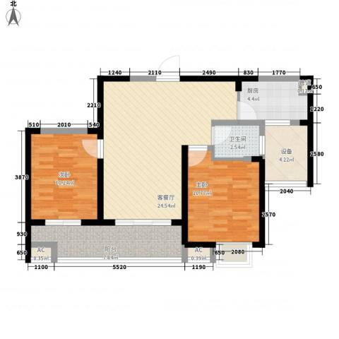 无锡滨湖万达广场2室1厅1卫1厨96.00㎡户型图