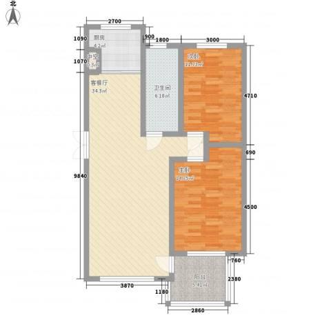 东城天下2室1厅1卫1厨76.86㎡户型图