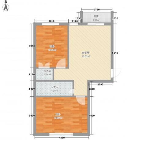 丰和日丽2室1厅1卫1厨92.00㎡户型图