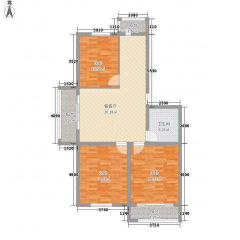 世纪雅苑3室1厅1卫0厨116.00㎡户型图