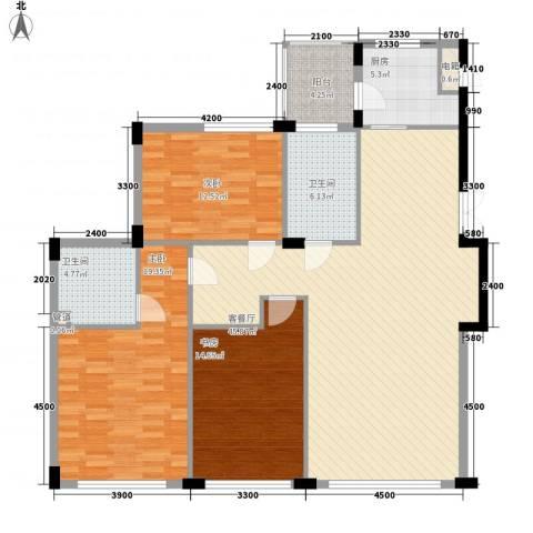 亿锋现代城3室1厅2卫1厨145.00㎡户型图