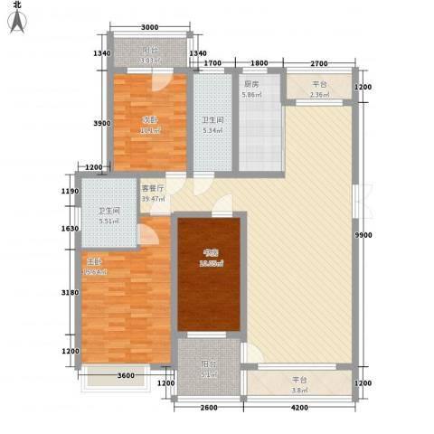 亿锋现代城3室1厅2卫1厨136.00㎡户型图