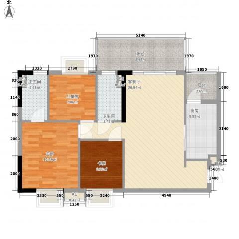富豪山庄3室1厅2卫1厨98.00㎡户型图
