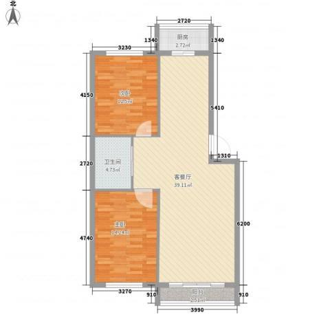 丰和日丽2室1厅1卫1厨101.00㎡户型图