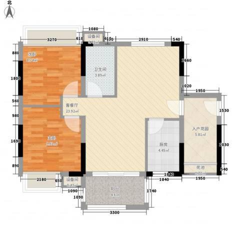 秋谷康城2室1厅1卫1厨78.00㎡户型图