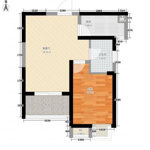 无锡滨湖万达广场1室1厅1卫1厨59.00㎡户型图