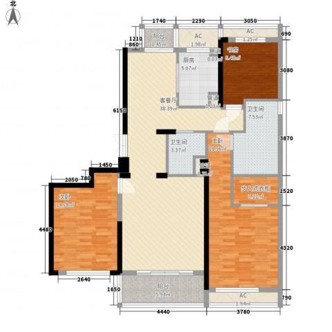 绿城锦绣兰庭3室1厅2卫1厨165.00㎡户型图