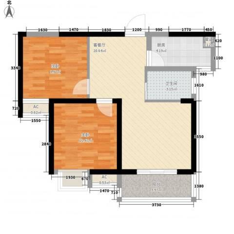 无锡滨湖万达广场2室1厅1卫1厨79.00㎡户型图