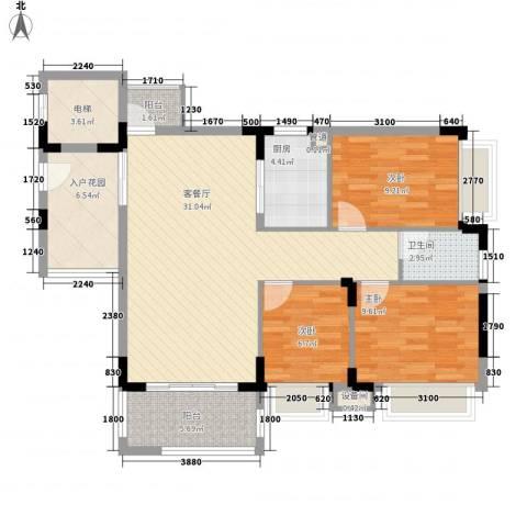 秋谷康城3室1厅1卫1厨81.90㎡户型图