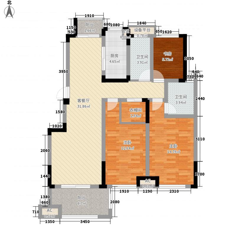 滨江丽都桥语133.53㎡47#楼E户型3室2厅2卫1厨