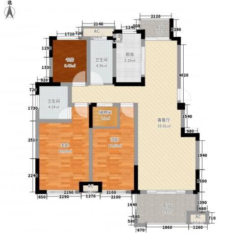 滨江丽都桥语3室1厅2卫1厨143.00㎡户型图