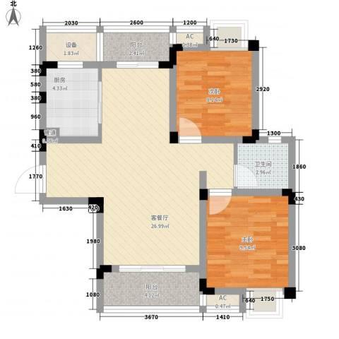 无锡滨湖万达广场2室1厅1卫1厨91.00㎡户型图