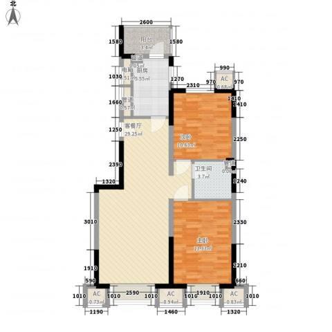 恒润御林湾2室1厅1卫1厨101.00㎡户型图